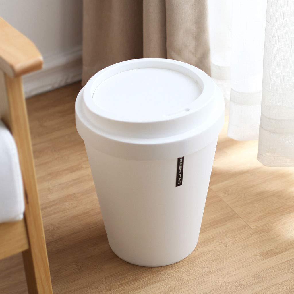 Farbe : Schwarz Küchen-Abfalleimer LSJT Große Haushalt Flip Mülleimer 11L Einfache Büro Papierkorb Europäischen Stil Wohnzimmer Küche Kunststoff Eimer Reinigungseimer