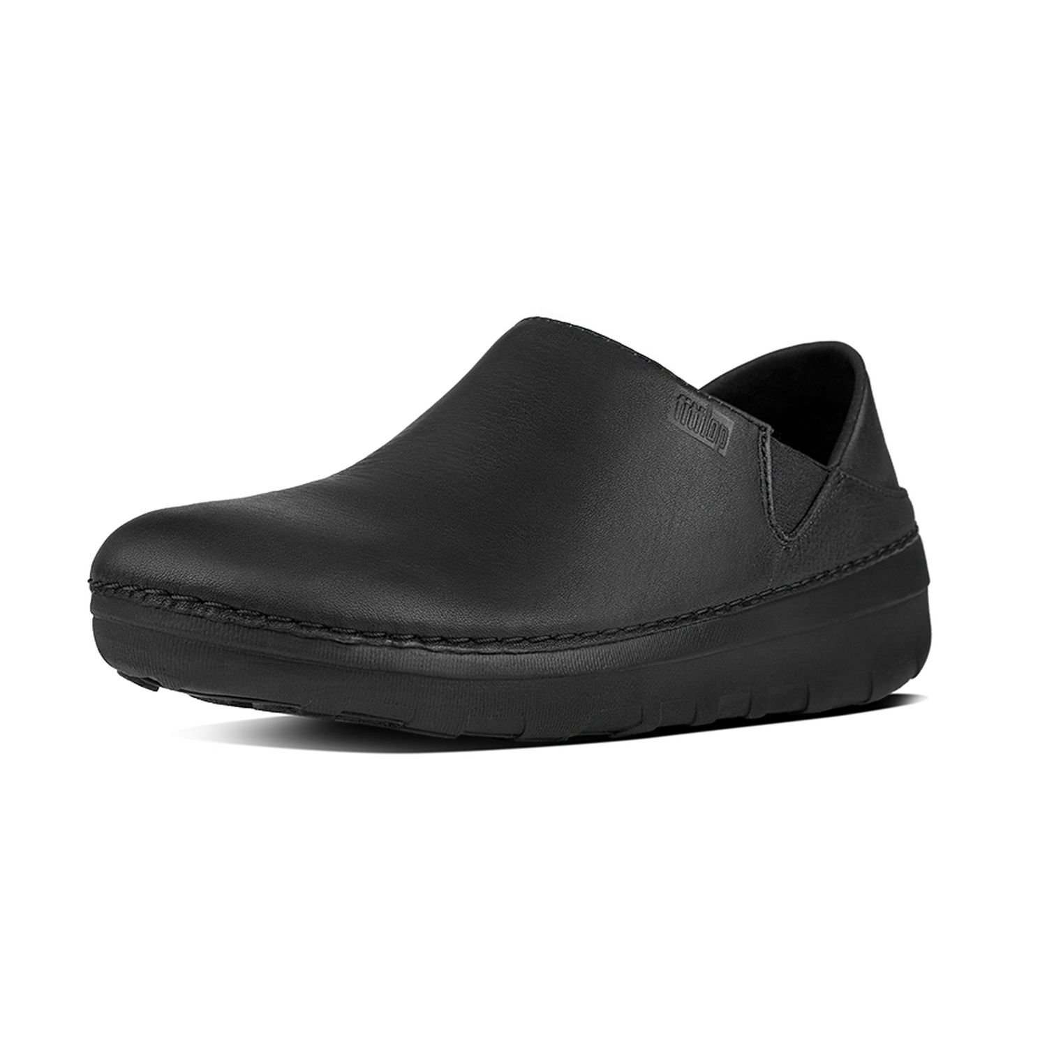 FitFlop Women's Superloafer Leather Loafers All Black 08 & Sunscreen