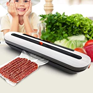 KLSJJ Vacuum Sealer Automatic Food Sealer Machine for Food Saver and Preservation with Dry & Moist Modes, Started Kit of Rolls,Double-Layer Heat Sealing,Hose for Food Saver and Sous Vide