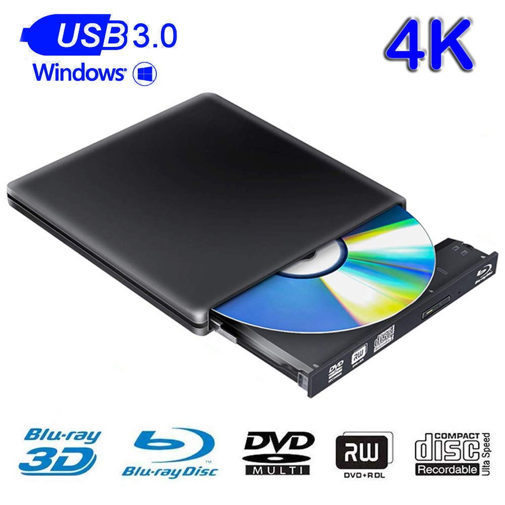 External Blu Ray Drive 3D 4K USB 3.0 Blu Ray Drive Player CD DVD Drive Compatible with Windows 7/8/10 Linux for Laptop PC iMac MacBook OS by Cisasily