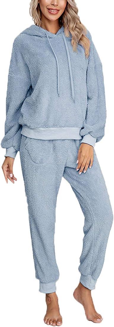 Pijama Mujer Invierno Ropa para Casa Forro Polar Conjunto de Pijama 2 Piezas para Mujer Sudadera de Felpa + Pantalones Largos Color Sólido
