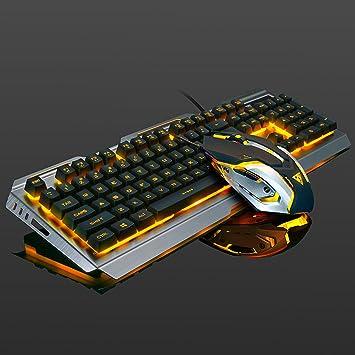 Sedensy Teclado mecánico para Juegos y ratón, Teclado ergonómico con retroiluminación LED, Teclado para Juegos retroiluminado con LED de arcoíris, ...