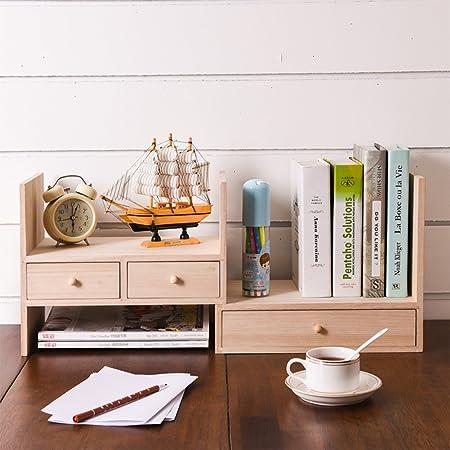 WJXBoos Estantería,Creativa Mesa Madera Maciza Estante librería pequeña combinación Simple Escritorio Escritorio Estante para Libros-Registros 34x20x28cm(13x8x11): Amazon.es: Hogar