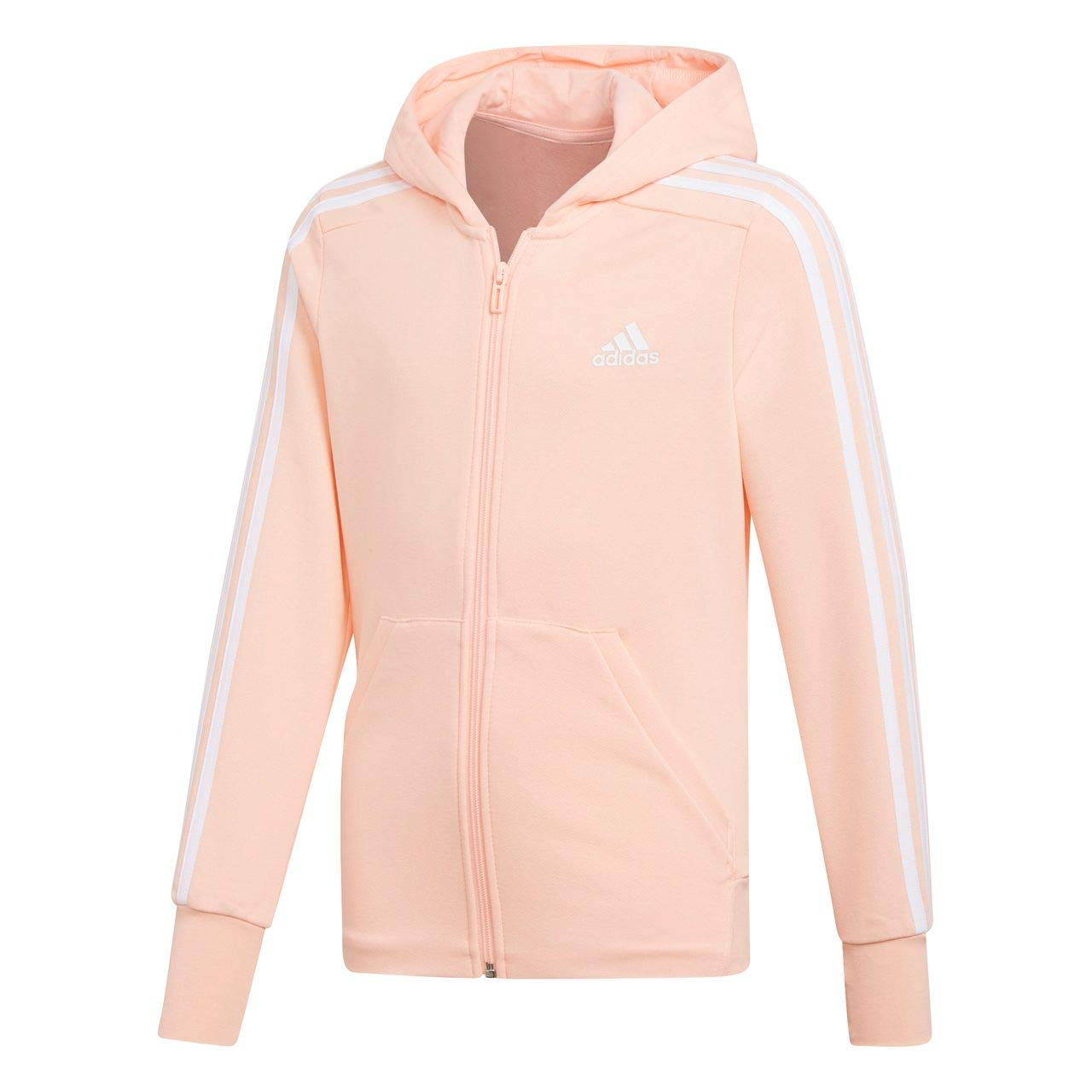 adidas niña 3 Stripes Full Zip con Capucha Chaqueta con Capucha de, Niñas, DJ1303, Dark Grey Heather/Haze Coral/White, 116: Amazon.es: Deportes y aire libre