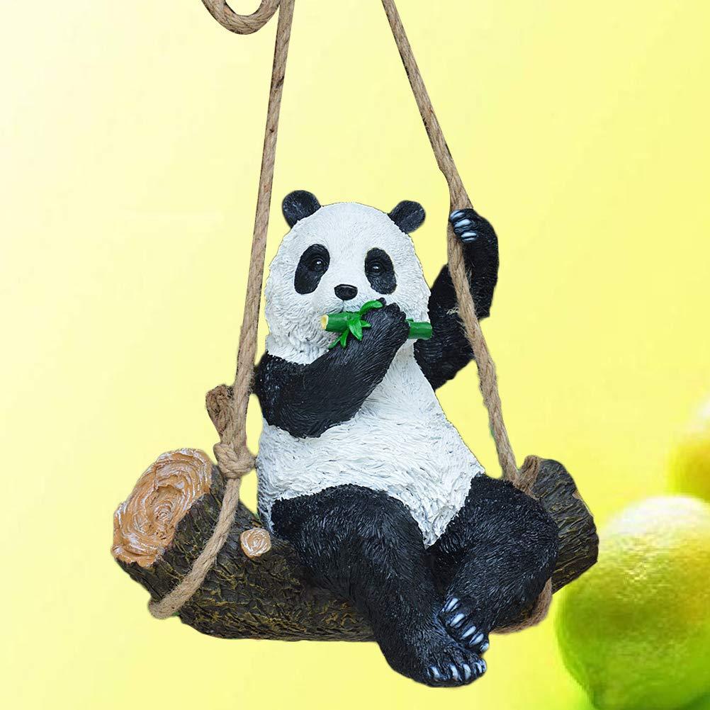 Pose balan/çante Yardwe Statue de Jardin de r/ésine de Jardin Animal d/écoration dornement de Panda Ornement Sculptures de Jardin pour Patio Maison de pelouse