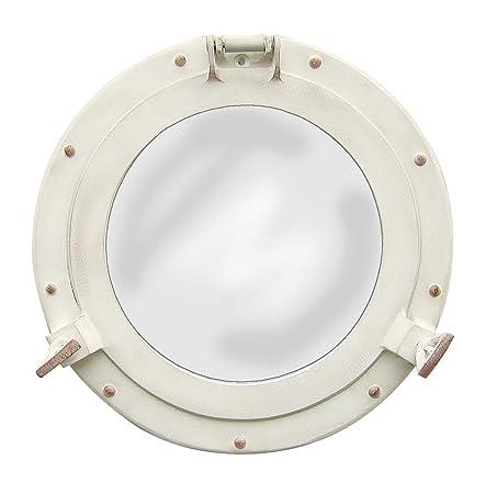 Nagina International Antique White Porthole Mirror Maritime Aluminum Vintage Decor