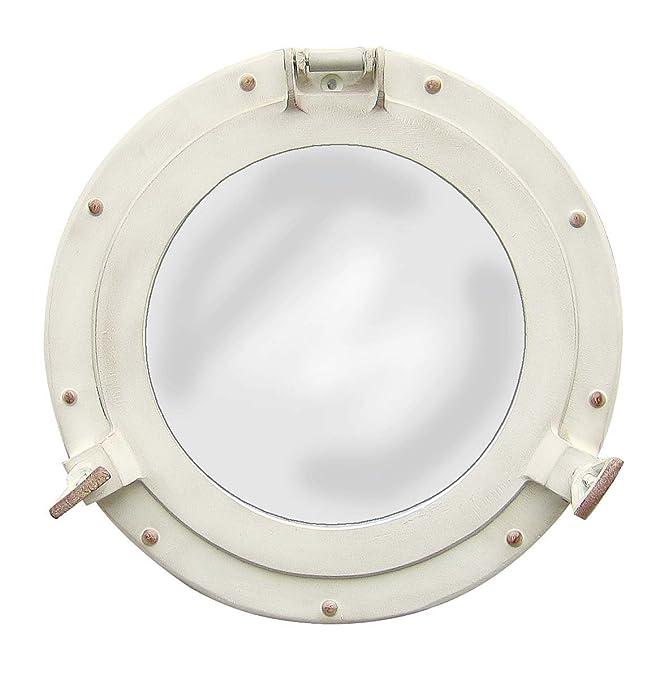 Nagina International Antique White Porthole Mirror | Maritime Aluminum Vintage Decor