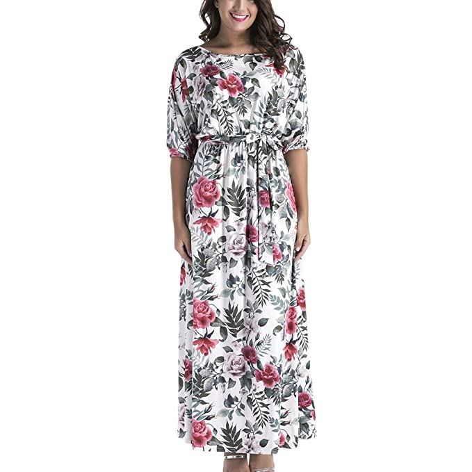 TianBin Mujer Vestidos Largos Verano Elegantes Casual Flores Estampados Vintage Boho Maxi Vestido: Amazon.es: Ropa y accesorios