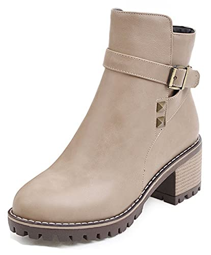 Women's Studded Buckle Strap Inside Zip Up Round Toe Booties Mid Block Heel Ankle Boots With Zipper