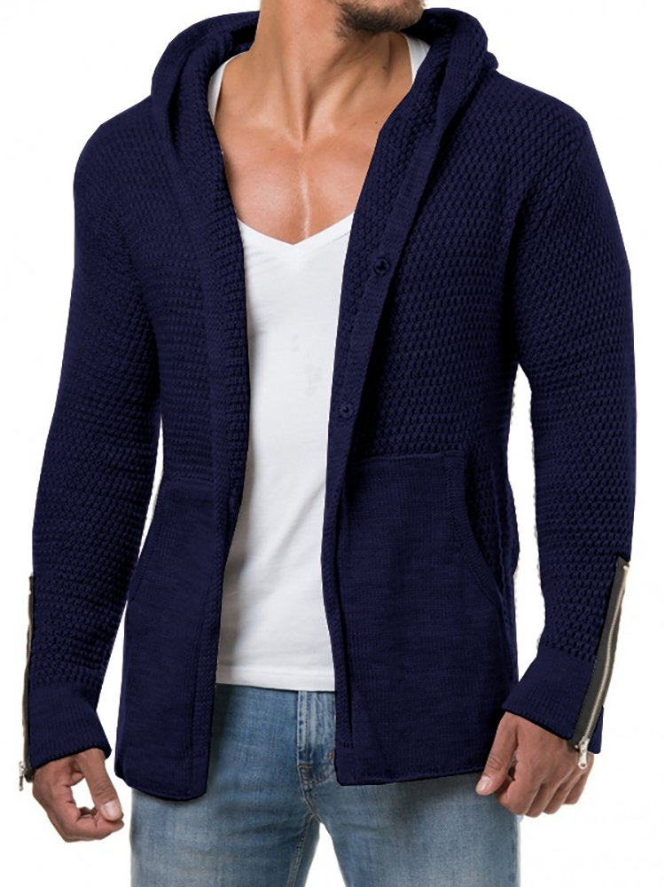 PASLTER Mens Long Sleeve Slim Fit Knit Hoodie Open Front Shawl Collar Longline Cardigan Sweater