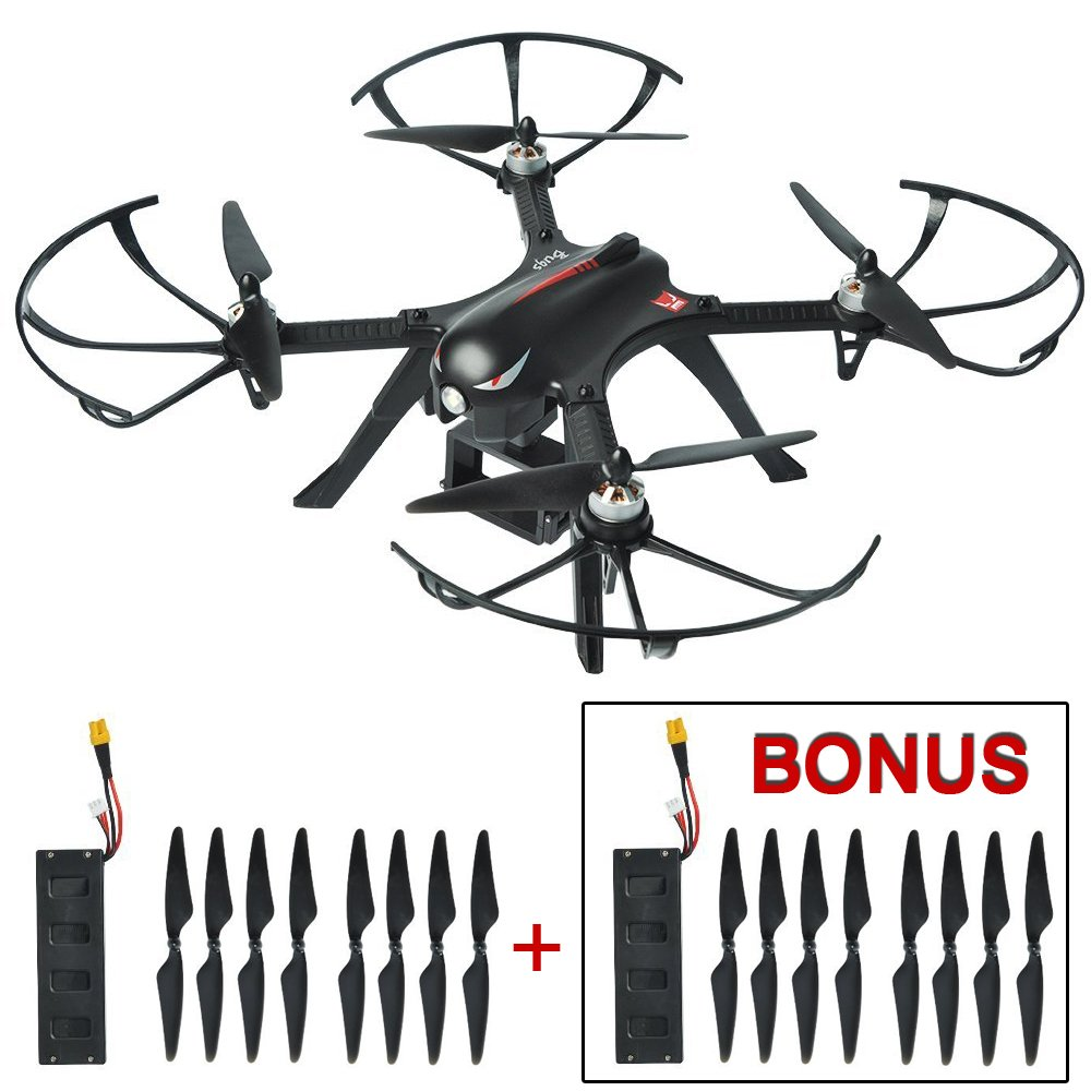 Mysterystone Bugs 3 RC Quadcopter Drone with 2 Batteries, 2 Extra Sets of Blades, Brushless Drone with GoPro Camera Mount 18min Flight Time 300m Long Range Remote Control Wind Resistance Drones Black