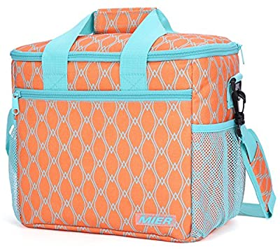 MIER 24-can Large Capacity Insulated Lunch Bag Soft Cooler Tote Bag for Outdoor, Picnic, Beach, Car Trip
