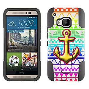 HTC ONE M9 Hybrid Case Anchor on Aztec Rainbow White 2 Piece Style Silicone Case Cover with Stand for HTC ONE M9