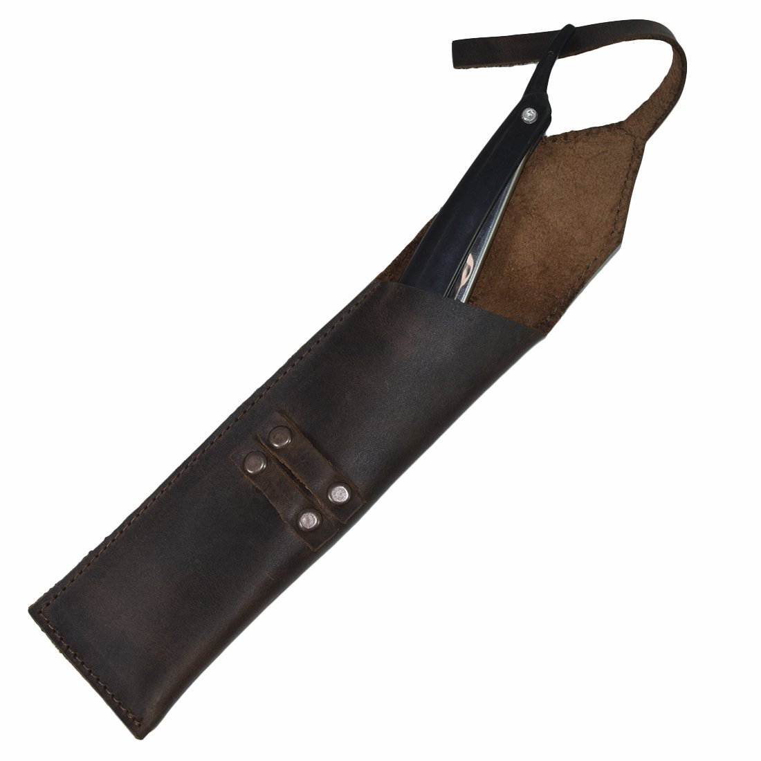 Rustic Leather Straight Razor Case Handmade by Hide & Drink :: Bourbon Brown