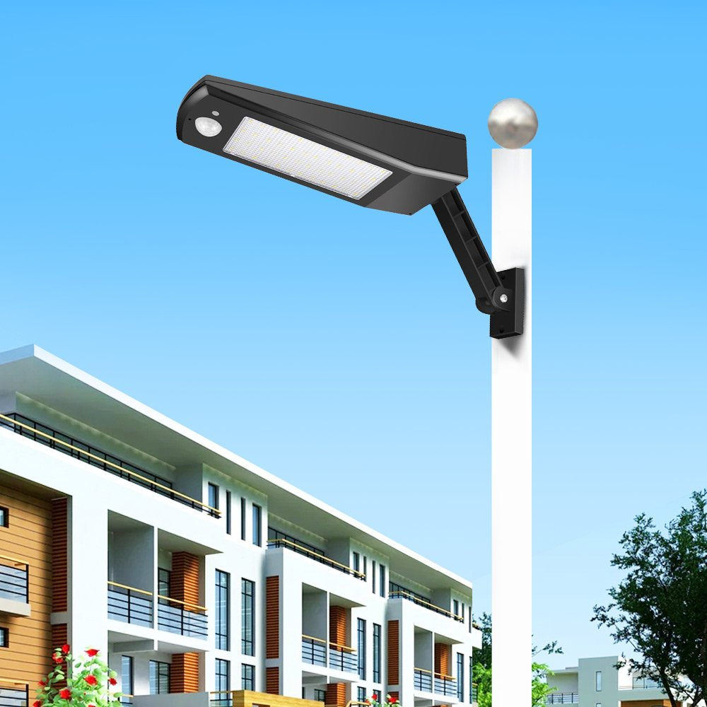 Solar Street Light Outdoor 48LEDs 900LM Waterproof IP65 4 Modes Emergency Light with PIR Motion Sensor, All-in-one Cordless Lamp, for Street Road Garden Yard Pathway