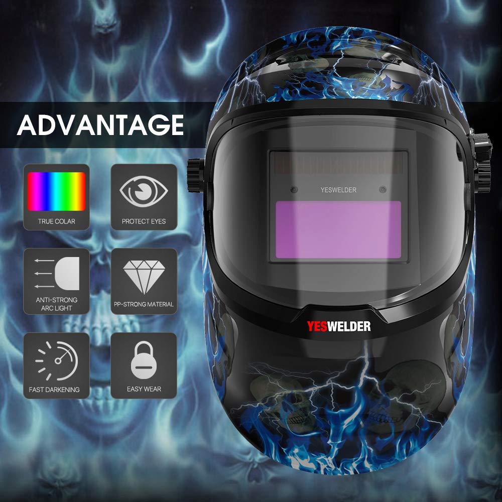 YESWELDER True Color Solar Powered Auto Darkening Welding Helmet,Adjustable Shade Range 4/9-13 Welder Mask Hood for TIG MIG ARC by YESWELDER (Image #2)