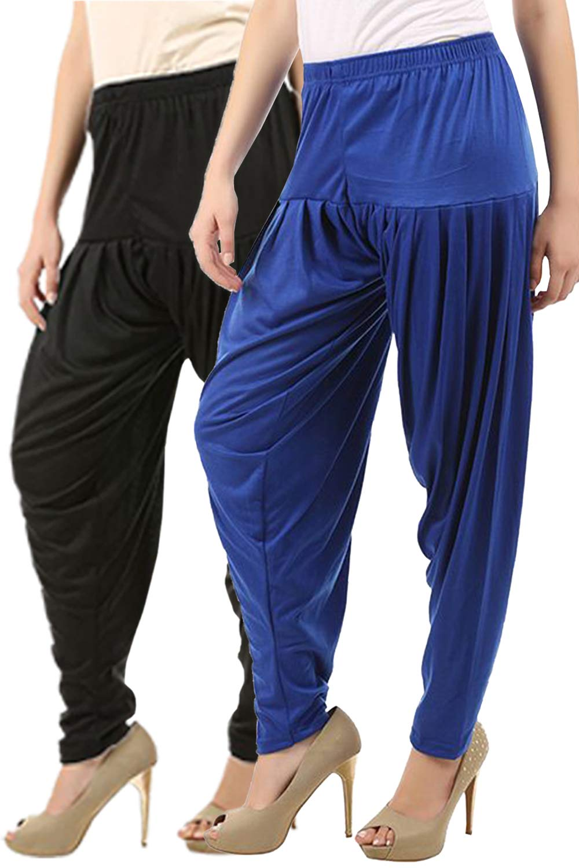 Buy That Trendz Women's Cotton Viscose Lycra Dhoti Patiyala Salwar Harem Bottoms Pants Black Royal Blue Combo Pack of 2 (B07H6L5GLP) Amazon Price History, Amazon Price Tracker
