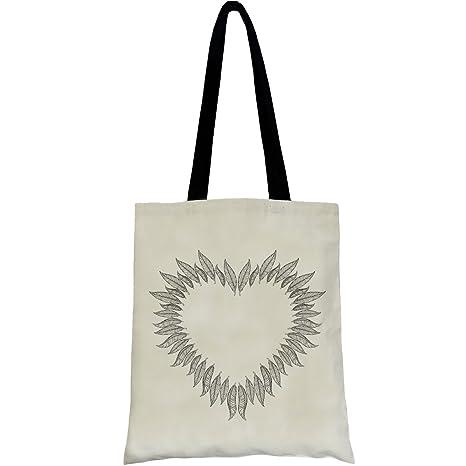 PREMYO Bolsa de la Compra Reutilizable Tela Bolso Tote Shopping Mujer Asas Largas Impresión Corazón de Plumas Práctico Cómodo Robusto Algodón Natural