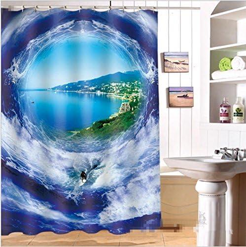 gymnljy Cortina de Ducha Fantastic Ocean 3D de impresión Verdickte Impermeable Harina de poliéster Cortina de rocío Cocina Cuarto de baño Mampara, 200 * 180cm: Amazon.es: Hogar