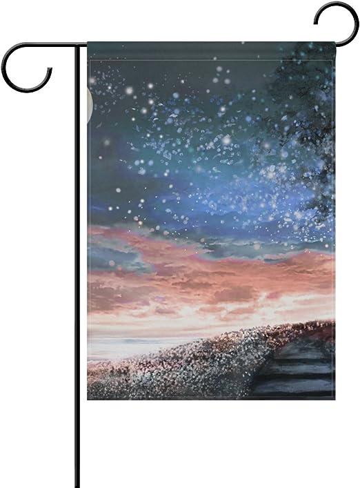 jstel casa noche cielo estrellas luna árbol de tela de poliéster jardín banderas Lovely y resistente al moho Custom de resistente al agua 28 x 40 inch: Amazon.es: Jardín