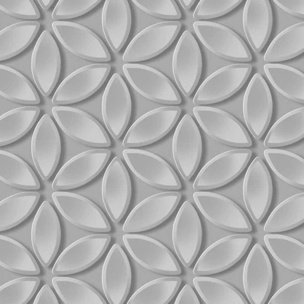 Debona 3D Juniper Gris Argenté Géométrique Rétro Métallique pétale papier peint 6160