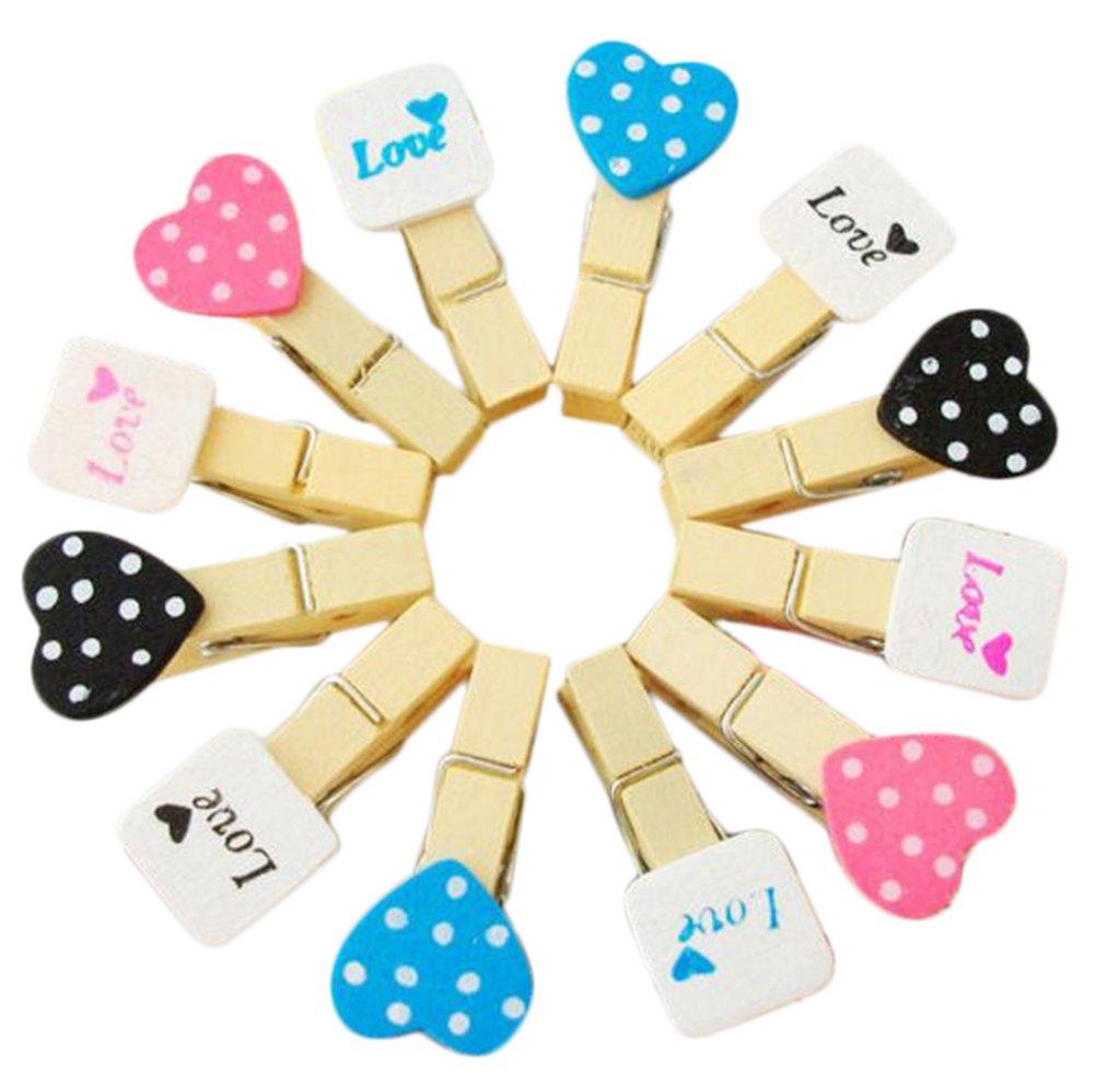 Freedi 12 Pcs Wooden Mini Clothespins Heart&Love Photo Paper Peg Pin Craft Clip+Jute Cord Party Décor