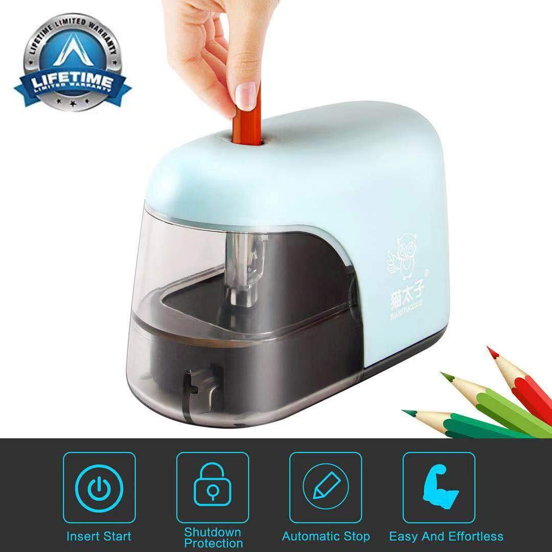 Electric Pencil Sharpener, Battery operated only, Auto & Safety Electric Pencil Sharpener, Cute Mini Electric Pencil Sharpener for Kids, Mini Cute Electric Pencil Sharpener With LED Light