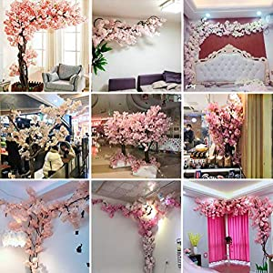 RENHAN Encryption Artificial Fake Flowers Light Pink Cherry Blossoms Vine Flower Artificial Silk Sakura Flowers Wedding Bouquet Party Home Decor 78