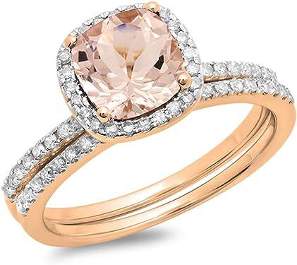 anillo de compromiso oro rosa de 10K con morganita