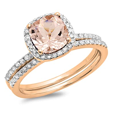 Amazoncom 10K Rose Gold Cushion Cut Morganite Round Cut White