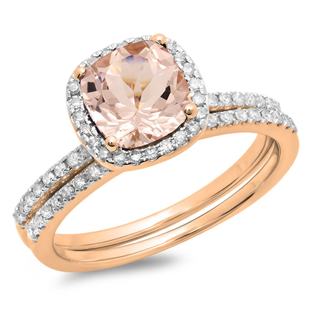 10K Rose Gold Cushion Morganite & Round White Diamond Bridal Halo Engagement Ring Set (Size 5)