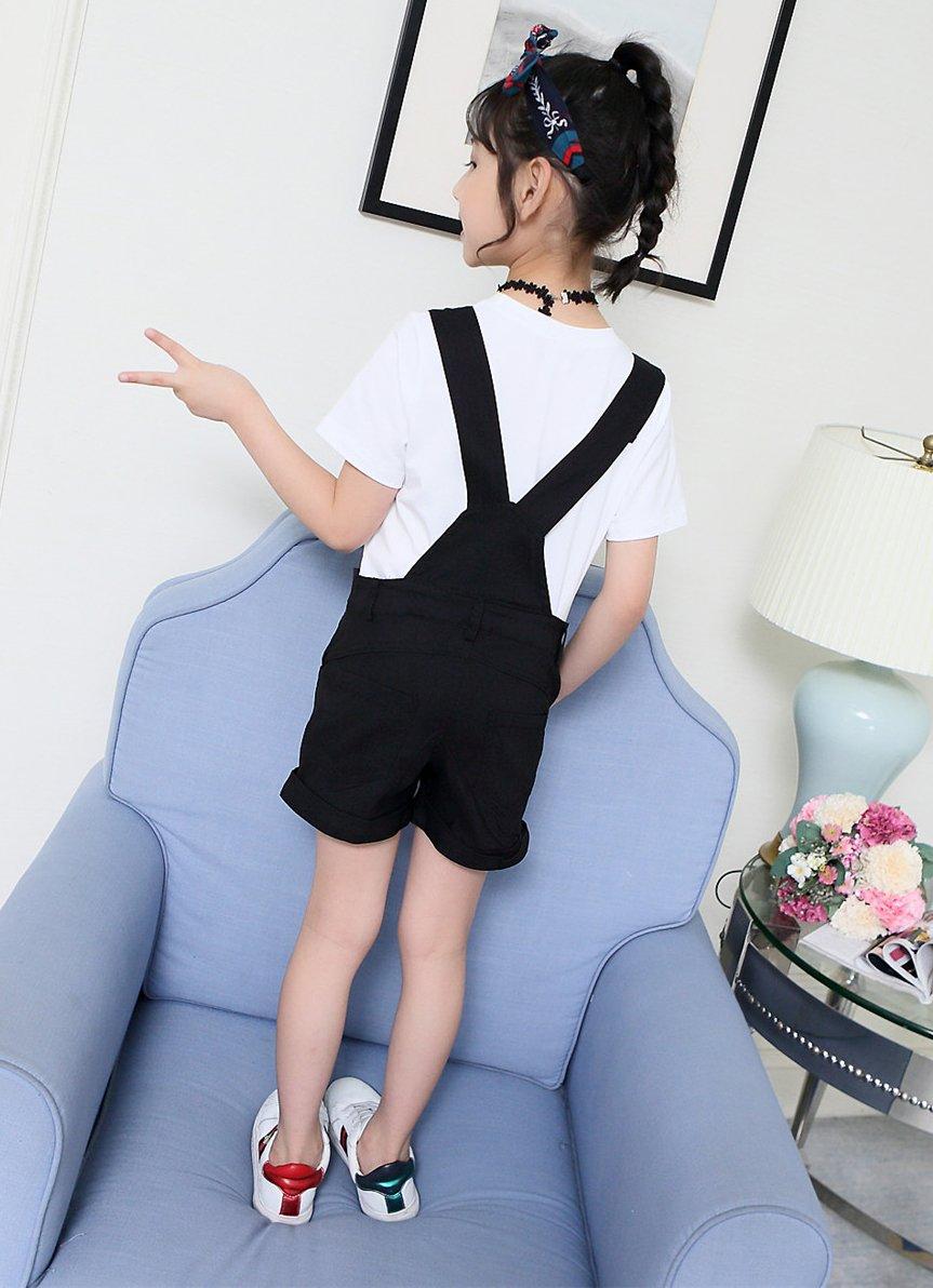 Sitmptol Big Girls Kids Cotton Overalls Jumpsuits Casual Shortalls Bib Romper Black 160 by Sitmptol (Image #6)