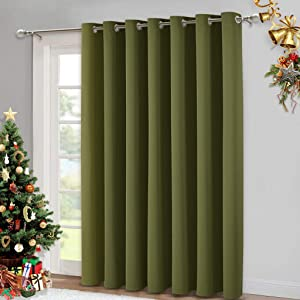 NICETOWN Window Treatment Sliding Door Curtain - Thermal Insulated Wide Width Solid Blackout Patio Glass Door Drape, Extra Wide Draperies (Olive Green, 100 inches Wide x 84 inches Long)