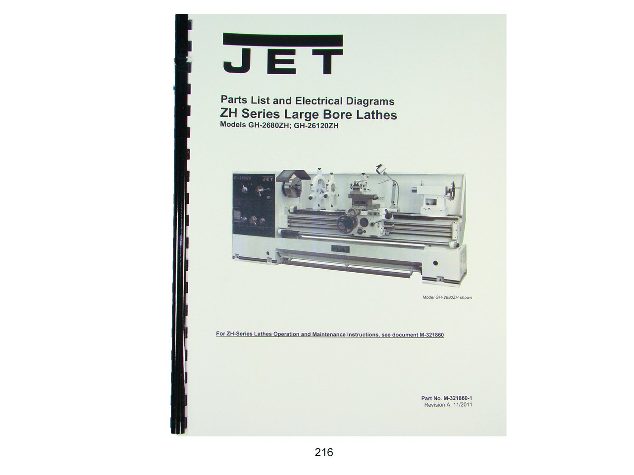 Jet Gh 2680zh 26120zh Lathe Parts List Electrical Diagram Wiring Manual Books