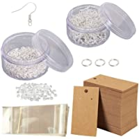 Earring Making Supplies Kit with Hypoallergenic Earring Hooks Earring Backs Earring Display Cards Jump Rings Self…