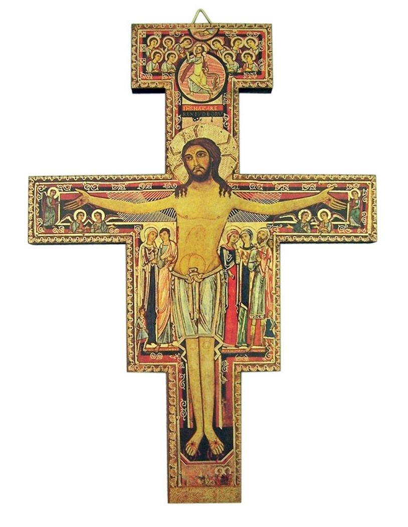 Saint Francis of Assisi San Damiano Wooden Wall Cross, 8 Inch