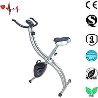 Ativafit Vélo Magnétique Pliable Vélo d'appartement Réglable Bike Pliable Vélo Fitness Vélo d'Exercice avec Moniteur LCD et Capteurs d'impulsions, 8 Niveaux de Résistance Réglable