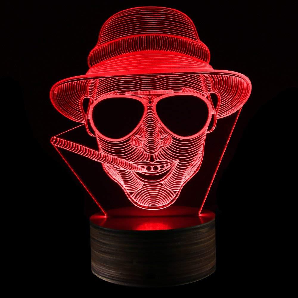 3D Illusion Night Light Smoking Gentleman Glowing LED Light, Cigar Smoking Man Portrait Man Cave Lighting