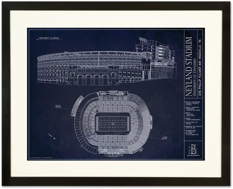 Neyland Stadium – University of Tennessee – 青写真スタイル印刷 フレーム - ブラック 18\