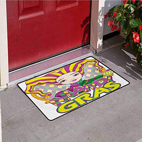 Jinguizi Mardi Gras Inlet Outdoor Door mat Carnival Girl in Harlequin Costume and Hat Cartoon Fat Tuesday Theme Catch dust Snow and mud W29.5 x L39.4 Inch Yellow Purple Green ()
