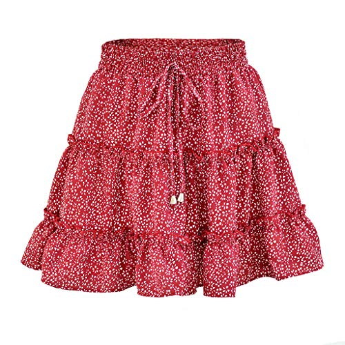 2019 Fashion Women Summer Casual High Waist Ruffled Floral Print Beach Short Skirt (Red, XL)