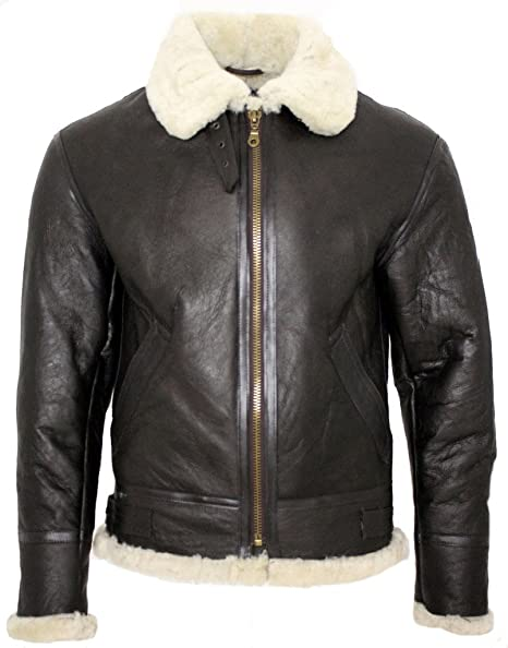 Infinity Mens Cream B3 Shearling Sheepskin World War 2 Bomber Leather Flying Aviator Jacket