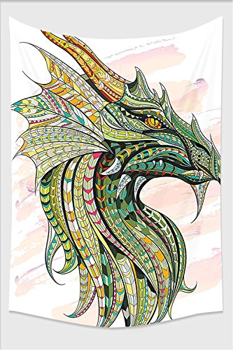 Nalahome-Celtic Decor Head Of Legend Dragon With Ethnic African Ornate Effects On Grunge