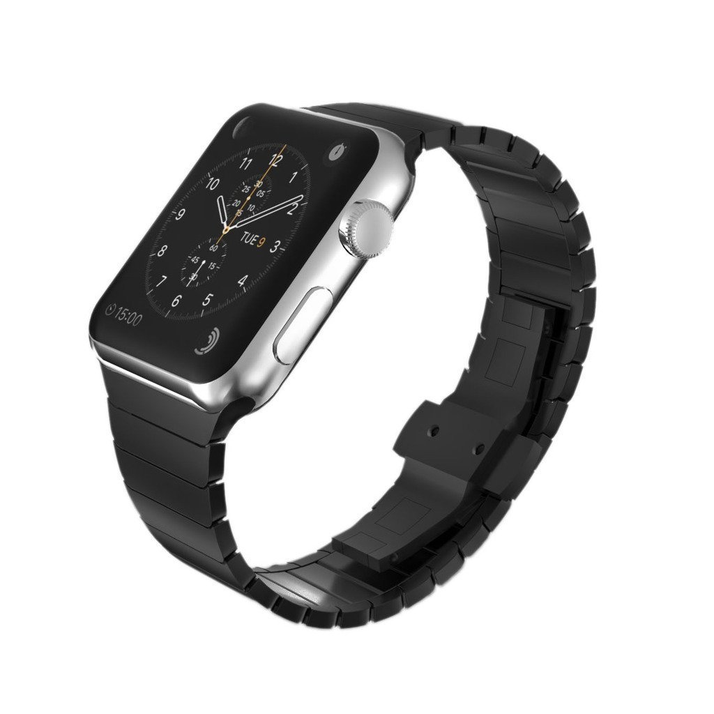 KADES Solid Stainless Steel Link Bracelet Compatible for 42mm Apple Watch Series 1/2/3 All Versions (1st Generation, Black)