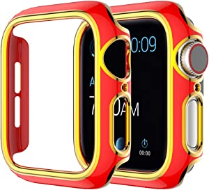 Compatible with Apple Watch SE Series 6 5 4 3 2 140mm 44mm Hard PC Case Bumper Resistant Waterproof Proof Impact Resistant Protective for Apple Watch 40mm 44mm 42mm 38mm(Red-Gold, 40mm)
