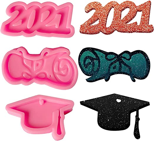 3 Pieces Graduation Resin Molds, 2021 Resin Molds Silicone Graduation Cap Mold Congrats Cupcake Silicone Baking Molds Candy Resin Fondant Molds for Keychains, Students/Schoolmates Graduation Party