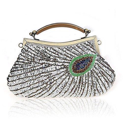 Bag Silver Handbags Small Mini Fashion Beaded for Clutch Wedding Purse Evening Bag Sequins Women OzFwq