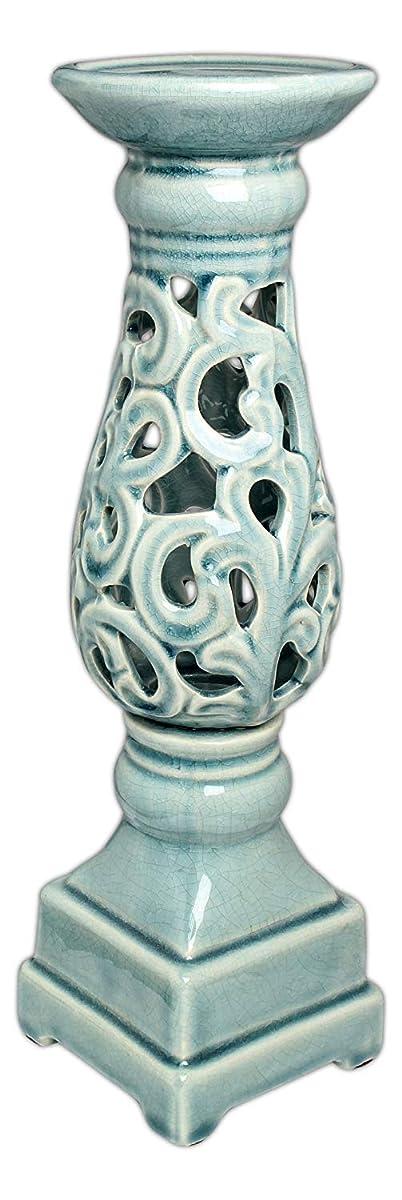 Lucky Winner Ceramic Pillar Candle Stand Pedestal - Light Turquoise Crackle Glaze