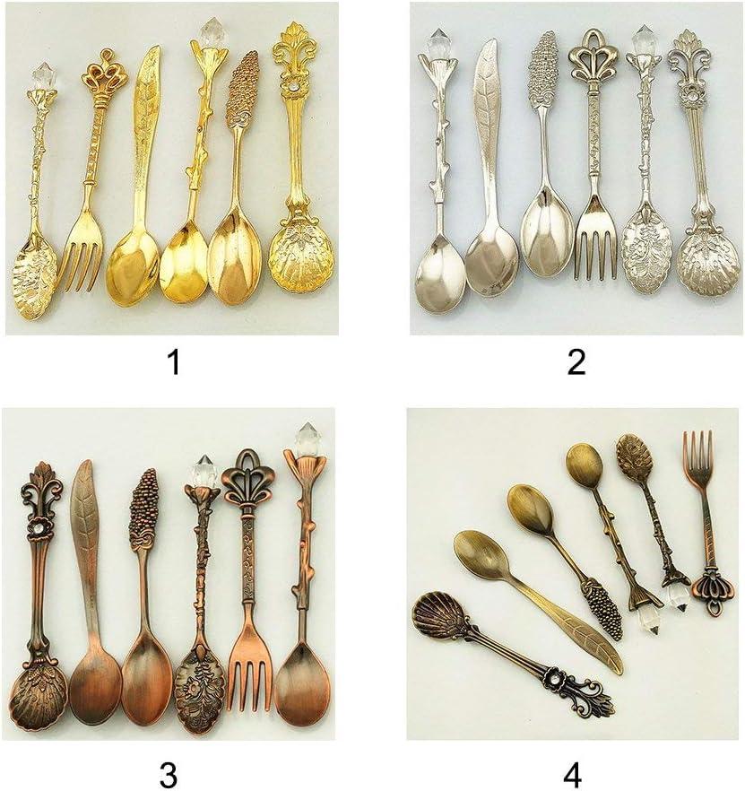// Set Vintage Stile Europeo Melograno Fiore Intagliato Caff/è T/è Zuppa Forchetta Articoli per la Tavola Kit 6 Pz - Dorato Bronzered color1