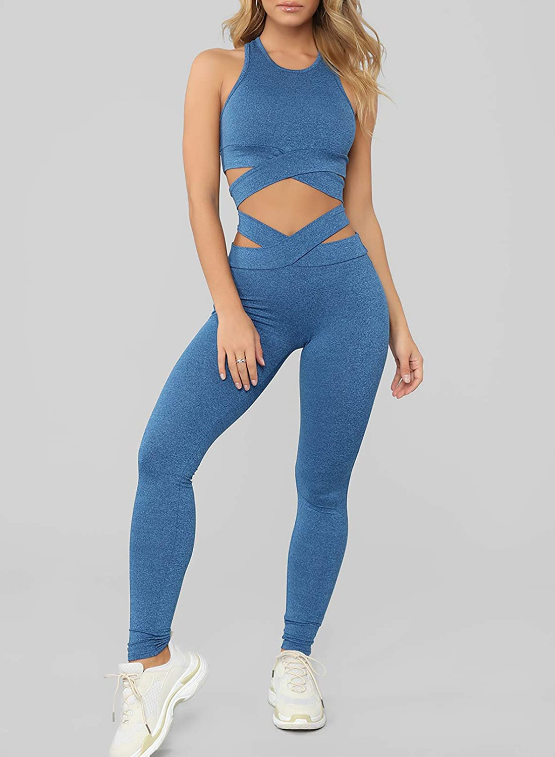 Two Piece Outfits For Women Sports Bras High Waisted Leggings Workout Clothes For Yoga Gym